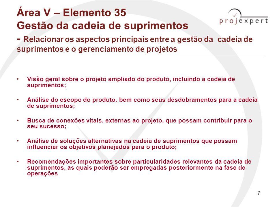 8 Área V – Elemento 35 Gestão da cadeia de suprimentos - Relacionar os aspectos principais entre a gestão da cadeia de suprimentos e o gerenciamento de projetos (2) Processo idêntico ao de aquisições:: –Planejamento do suprimento –Planejamento de fontes (fornecedores) –Solicitações –Coleta das fontes (fornecedores) –Administração de contratos –Encerramento de contratos OBJETIVOS: - estudar a gestão de suprimentos Compreender cada um dos processos desta gestão (valeriano, pg.