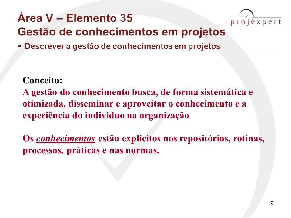 10 Área V – Elemento 35 Gestão de conhecimentos em projetos - Descrever a gestão de conhecimentos em projetos Visão do Gerente de Projetos - delegação: –Gestão da configuração, de interfaces e dados técnicos; –Gestão da documentação técnica; –Gestão da qualidade; –Gestão ambiental; –Gestão de riscos; Outras trabalhos de campo, softwares, controle, contratos (Valeriano, pg 144-145)
