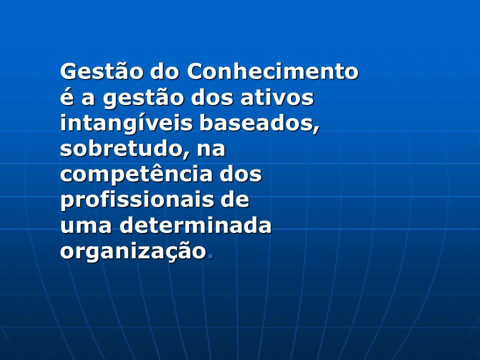 Gestão do Conhecimento é a gestão dos ativos intangíveis baseados, sobretudo, na competência dos profissionais de uma determinada organização.