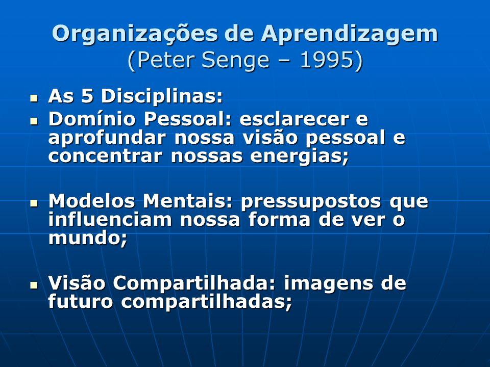 Organizações de Aprendizagem (Peter Senge – 1995) As 5 Disciplinas: As 5 Disciplinas: Domínio Pessoal: esclarecer e aprofundar nossa visão pessoal e c