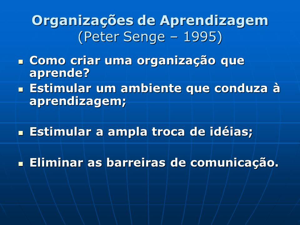 Organizações de Aprendizagem (Peter Senge – 1995) Como criar uma organização que aprende? Como criar uma organização que aprende? Estimular um ambient