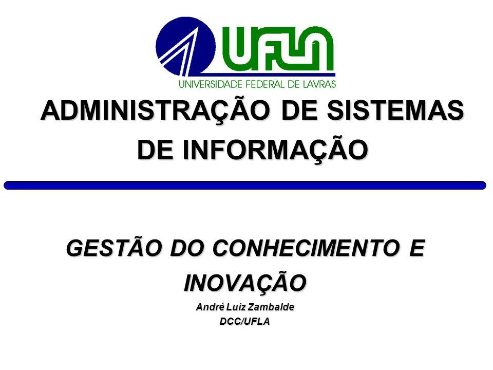 GESTÃO DO CONHECIMENTO E INOVAÇÃO André Luiz Zambalde DCC/UFLA ADMINISTRAÇÃO DE SISTEMAS DE INFORMAÇÃO