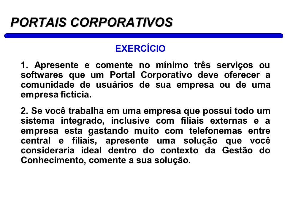 14 PORTAIS CORPORATIVOS EXERCÍCIO 1. Apresente e comente no mínimo três serviços ou softwares que um Portal Corporativo deve oferecer a comunidade de