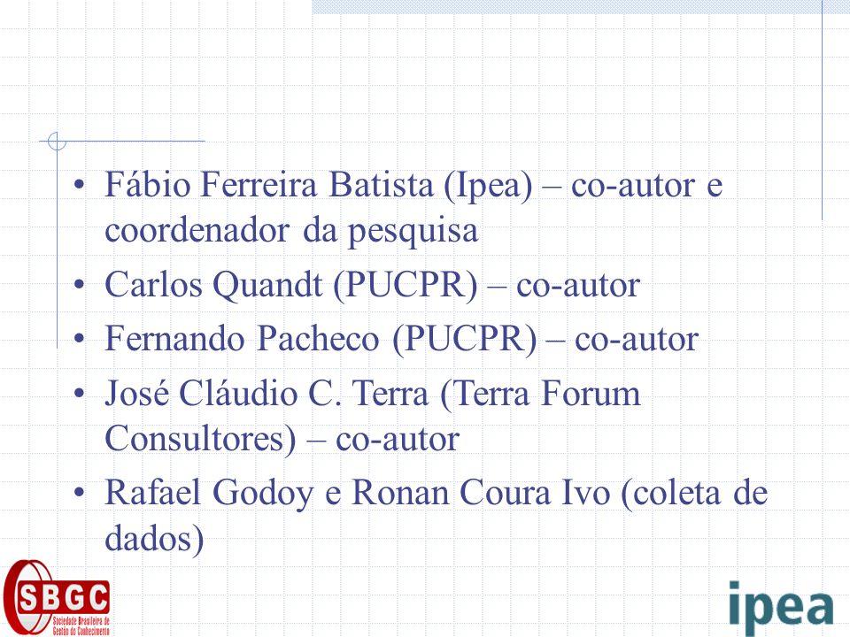Fábio Ferreira Batista (Ipea) – co-autor e coordenador da pesquisa Carlos Quandt (PUCPR) – co-autor Fernando Pacheco (PUCPR) – co-autor José Cláudio C