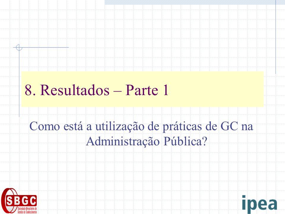 8. Resultados – Parte 1 Como está a utilização de práticas de GC na Administração Pública?