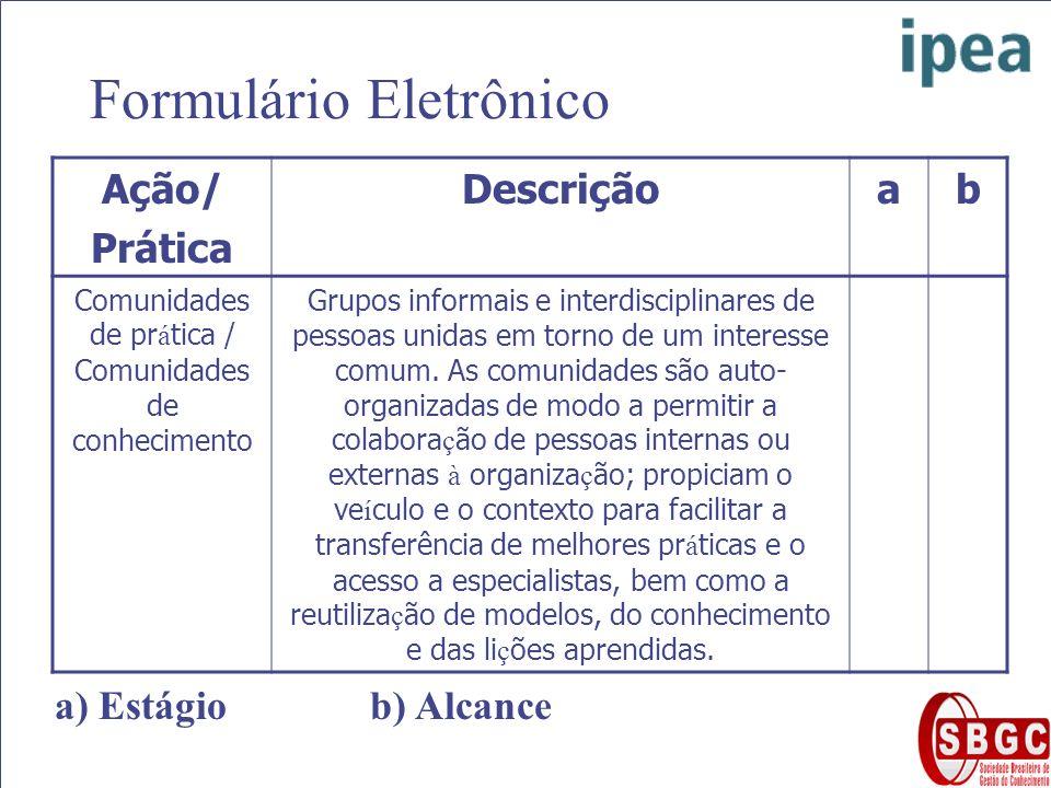 Formulário Eletrônico Ação/ Prática Descriçãoab Comunidades de pr á tica / Comunidades de conhecimento Grupos informais e interdisciplinares de pessoas unidas em torno de um interesse comum.