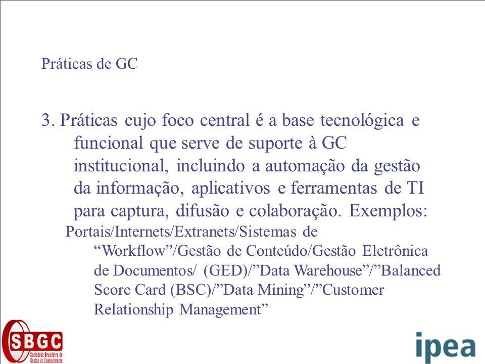 Práticas de GC 3. Práticas cujo foco central é a base tecnológica e funcional que serve de suporte à GC institucional, incluindo a automação da gestão