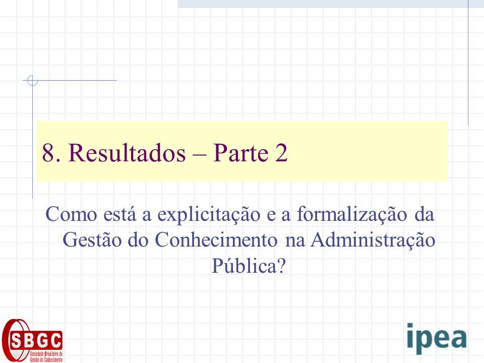 8. Resultados – Parte 2 Como está a explicitação e a formalização da Gestão do Conhecimento na Administração Pública?