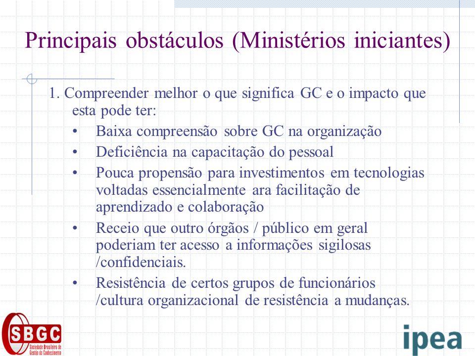 Principais obstáculos (Ministérios iniciantes) 1. Compreender melhor o que significa GC e o impacto que esta pode ter: Baixa compreensão sobre GC na o