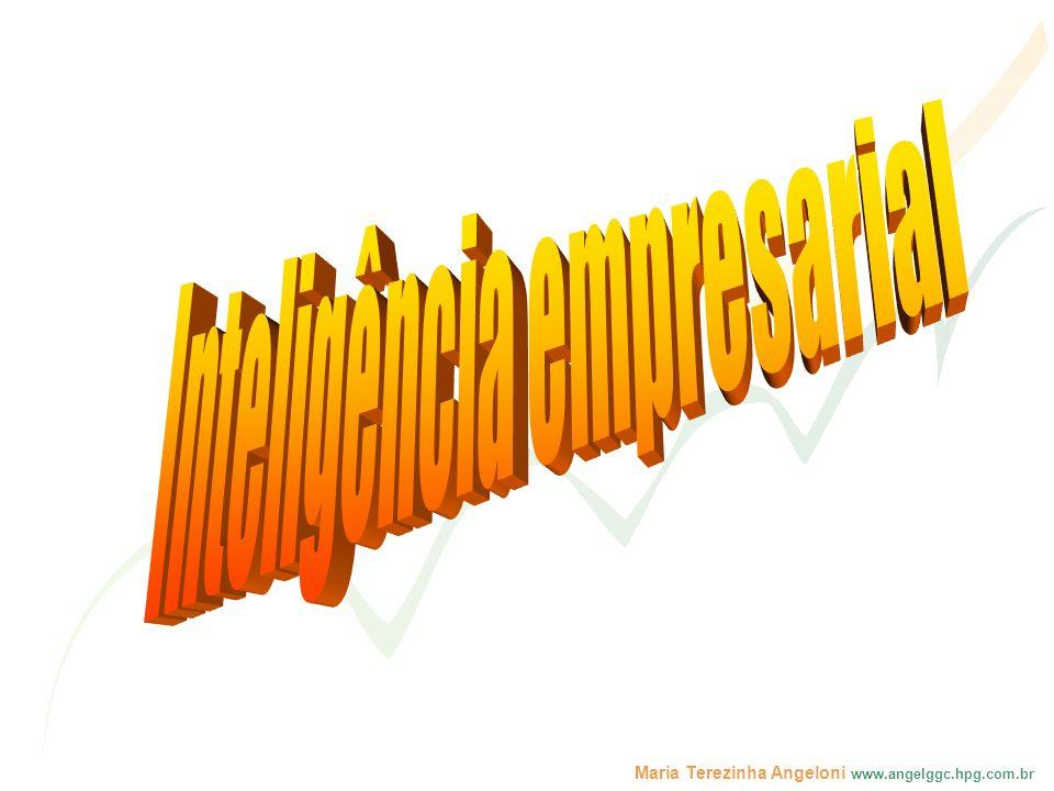 Maria Terezinha Angeloni www.angelggc.hpg.com.br MODELO DE ORGANIZAÇÕES DO CONHECIMENTO INFRA-ESTRUTURAORGANIZACIONAL PESSOAS TECNOLOGIA ORGANIZAÇÕES DO CONHECIMENTO Cultura Visão Holística Estrutura Estilo Gerencial Aprendizagem Modelos Mentais Compartilhamento Criatividade e Inovação Intuição Redes Datawarehouse Workflow GED/EED Groupware As informações e a inteligência empresarial