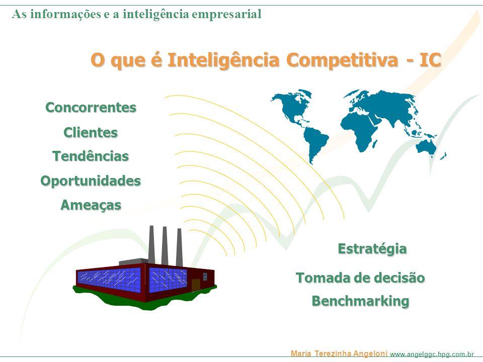 Maria Terezinha Angeloni www.angelggc.hpg.com.br O que é Inteligência Competitiva - IC Estratégia Tomada de decisão Benchmarking Tendências Oportunida