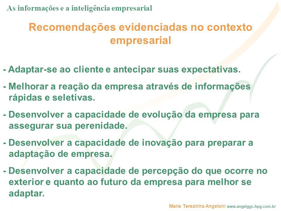 Maria Terezinha Angeloni www.angelggc.hpg.com.br Recomendações evidenciadas no contexto empresarial - Adaptar-se ao cliente e antecipar suas expectati