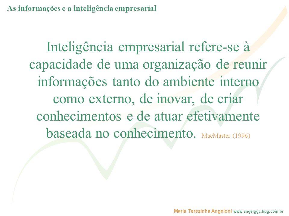 Maria Terezinha Angeloni www.angelggc.hpg.com.br - as informações e os conhecimentos externos, são aqueles obtidos no ambiente organizacional, utilizando, por exemplo, os conceitos e ferramentas de Inteligência Competitiva.