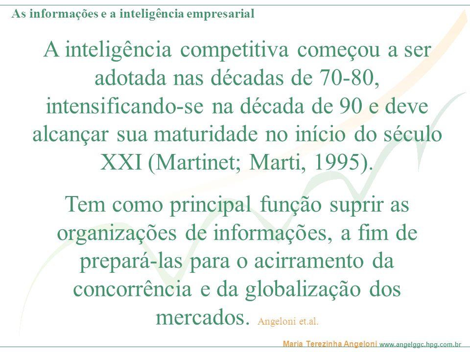 Maria Terezinha Angeloni www.angelggc.hpg.com.br Reunir-se em equipe de três pessoas para discutir: -O que é Inteligência empresarial e qual a sua importância para as organizações; -Quais as principais fontes de informações e conhecimentos organizacionais.