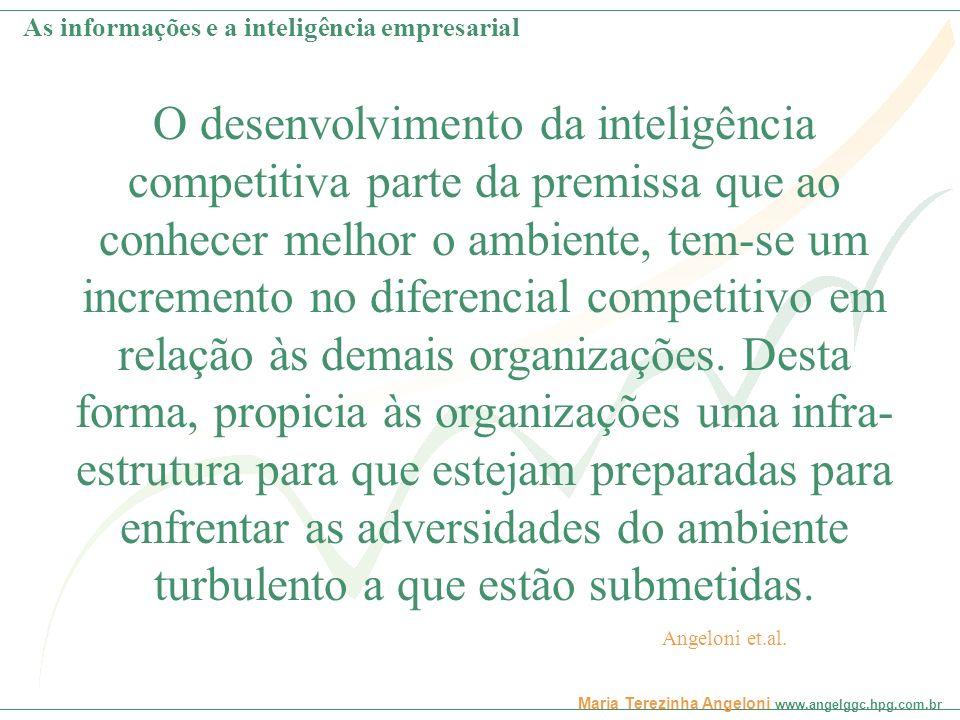 Maria Terezinha Angeloni www.angelggc.hpg.com.br O desenvolvimento da inteligência competitiva parte da premissa que ao conhecer melhor o ambiente, te
