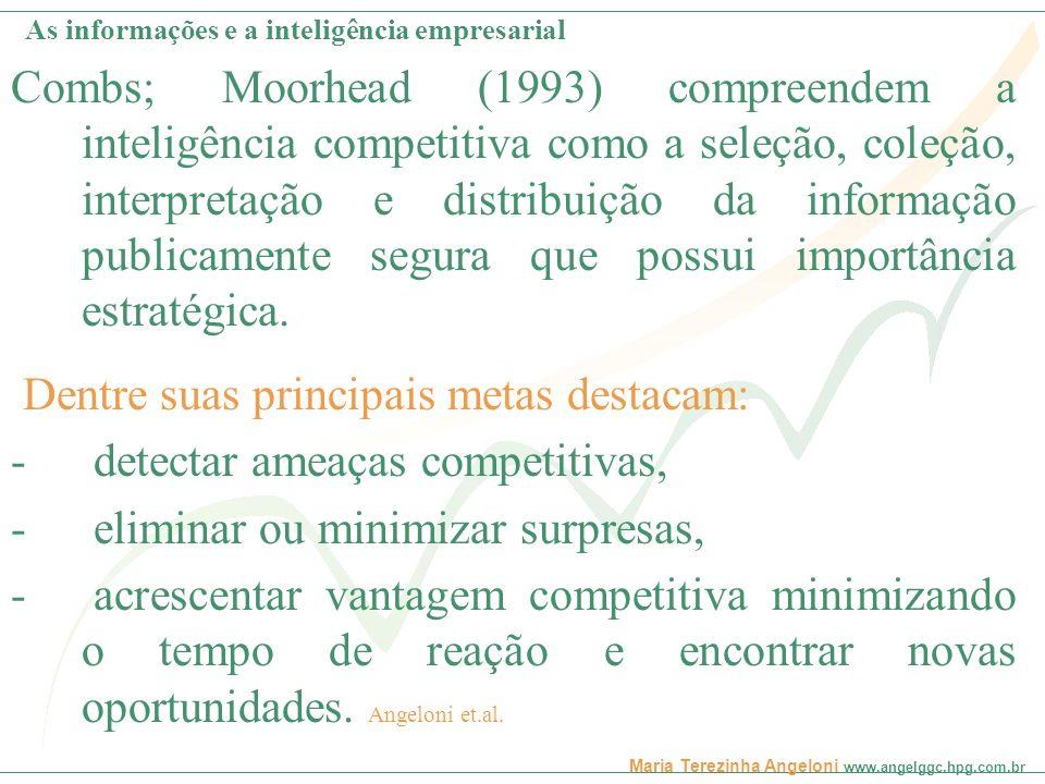Maria Terezinha Angeloni www.angelggc.hpg.com.br O que é Inteligência Competitiva - IC Estratégia Tomada de decisão Benchmarking Tendências Oportunidades Ameaças ClientesConcorrentes As informações e a inteligência empresarial