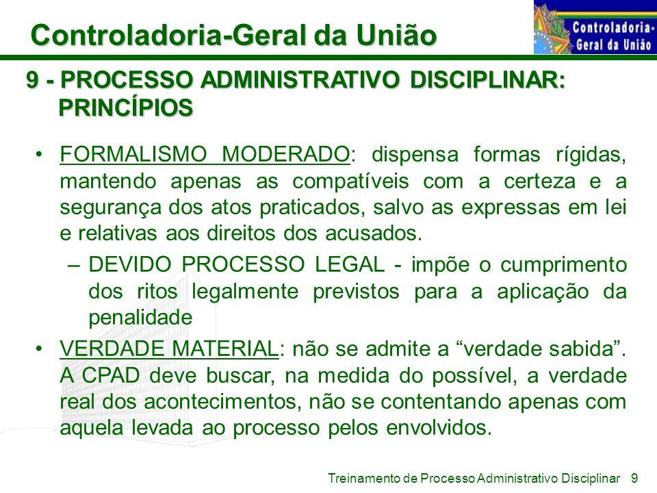 Controladoria-Geral da União Treinamento de Processo Administrativo Disciplinar 9 - PROCESSO ADMINISTRATIVO DISCIPLINAR: PRINCÍPIOS FORMALISMO MODERAD