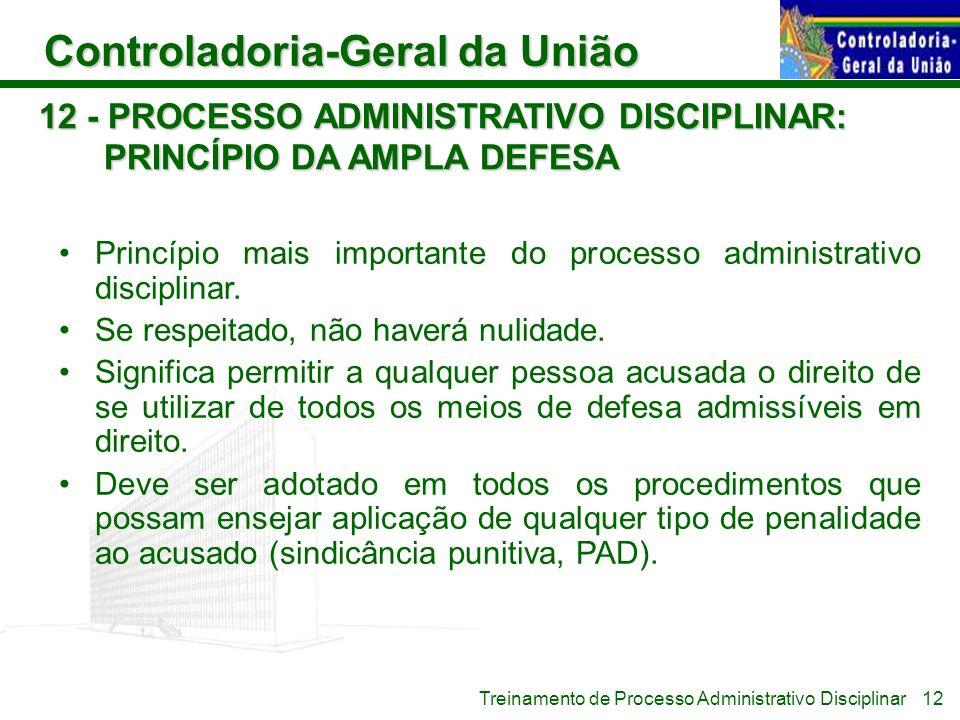 Controladoria-Geral da União Treinamento de Processo Administrativo Disciplinar 12 - PROCESSO ADMINISTRATIVO DISCIPLINAR: PRINCÍPIO DA AMPLA DEFESA Pr