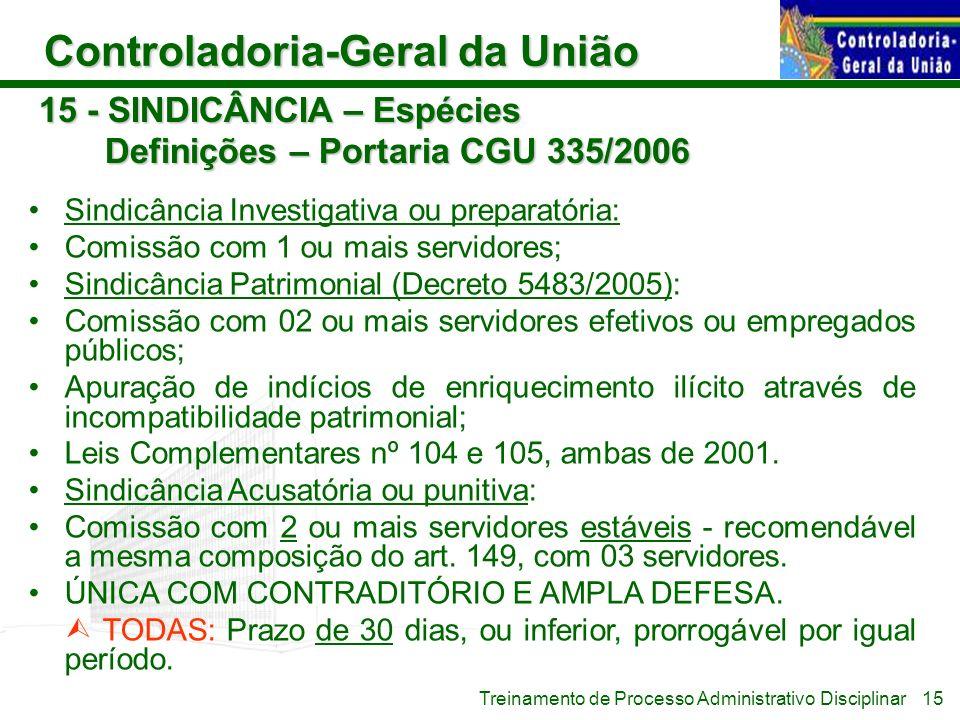 Controladoria-Geral da União Treinamento de Processo Administrativo Disciplinar 15 - SINDICÂNCIA – Espécies Definições – Portaria CGU 335/2006 Sindicâ