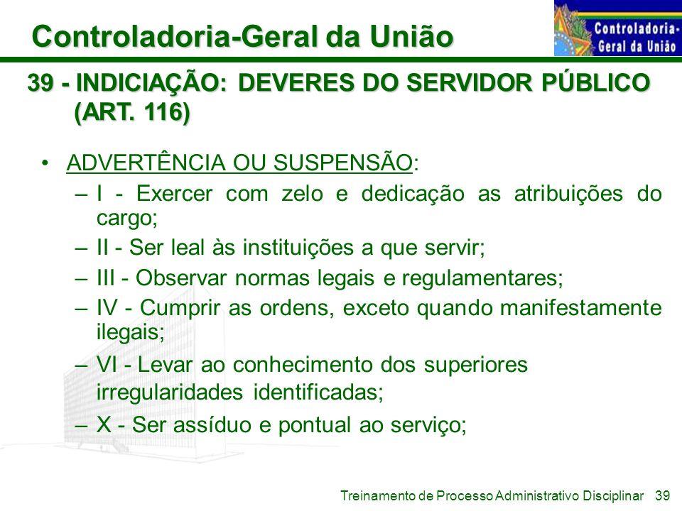 Controladoria-Geral da União Treinamento de Processo Administrativo Disciplinar 39 - INDICIAÇÃO: DEVERES DO SERVIDOR PÚBLICO (ART. 116) ADVERTÊNCIA OU