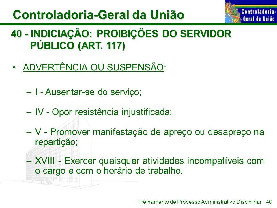 Controladoria-Geral da União Treinamento de Processo Administrativo Disciplinar 40 - INDICIAÇÃO: PROIBIÇÕES DO SERVIDOR PÚBLICO (ART. 117) ADVERTÊNCIA