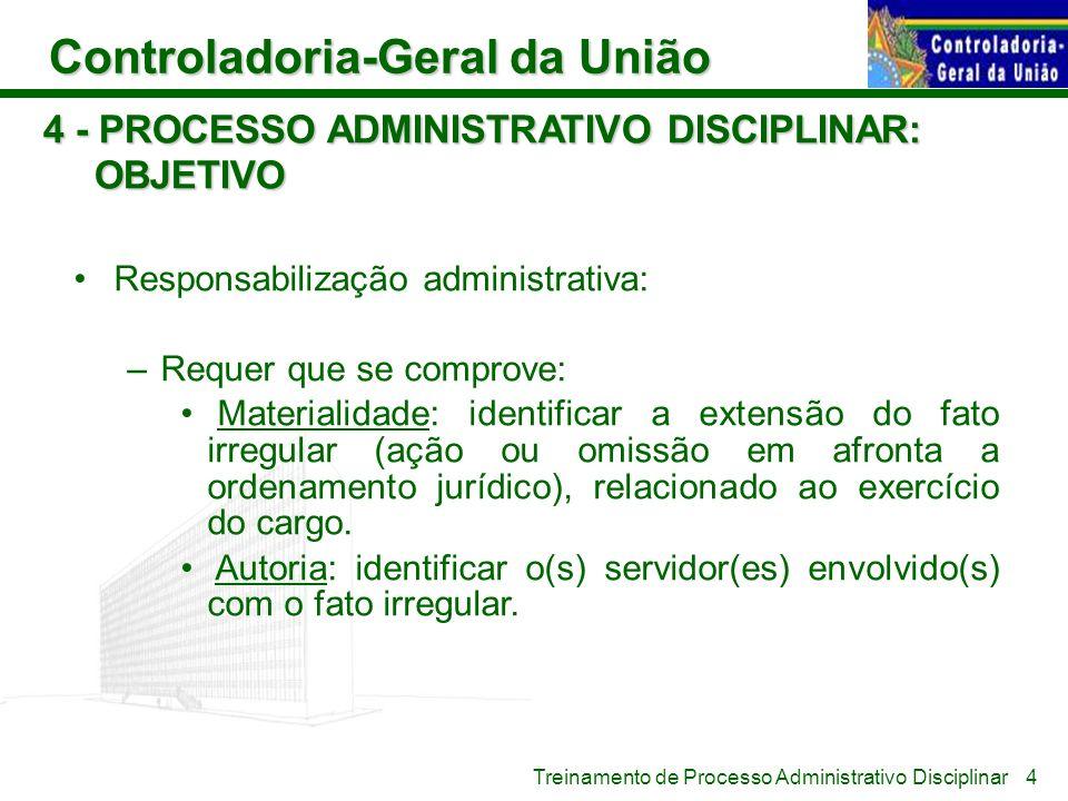 Controladoria-Geral da União Treinamento de Processo Administrativo Disciplinar 4 - PROCESSO ADMINISTRATIVO DISCIPLINAR: OBJETIVO Responsabilização ad