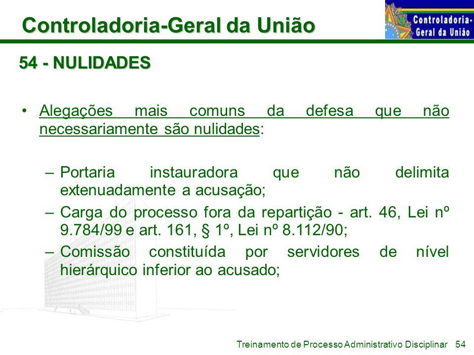 Controladoria-Geral da União Treinamento de Processo Administrativo Disciplinar 54 - NULIDADES Alegações mais comuns da defesa que não necessariamente