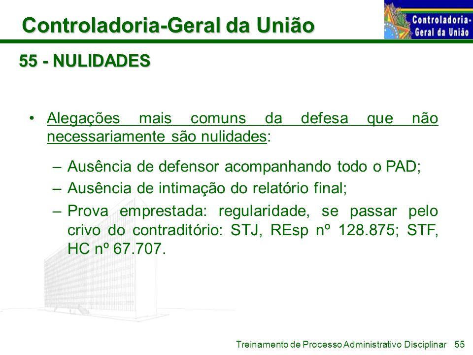 Controladoria-Geral da União Treinamento de Processo Administrativo Disciplinar 55 - NULIDADES Alegações mais comuns da defesa que não necessariamente