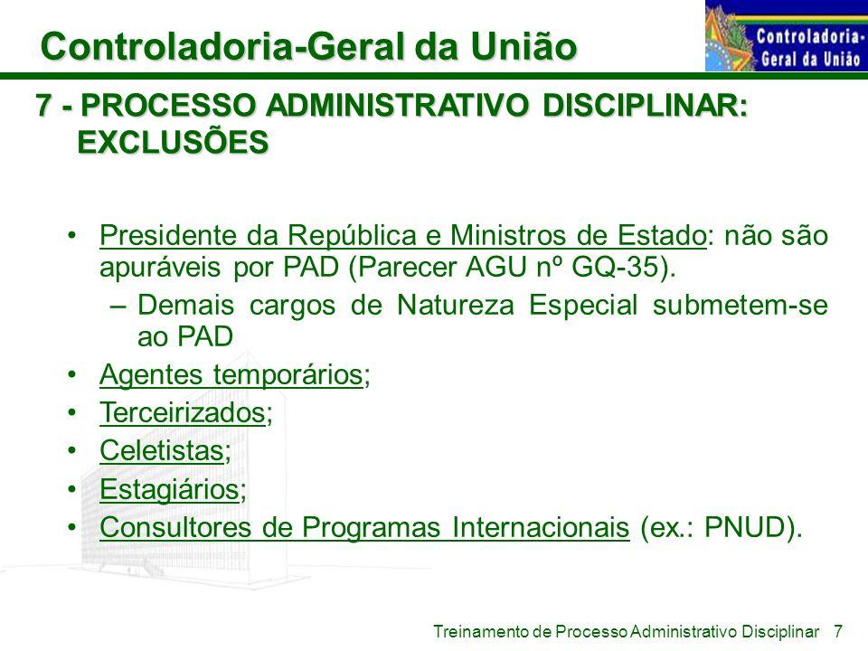 Controladoria-Geral da União Treinamento de Processo Administrativo Disciplinar 7 - PROCESSO ADMINISTRATIVO DISCIPLINAR: EXCLUSÕES Presidente da Repúb