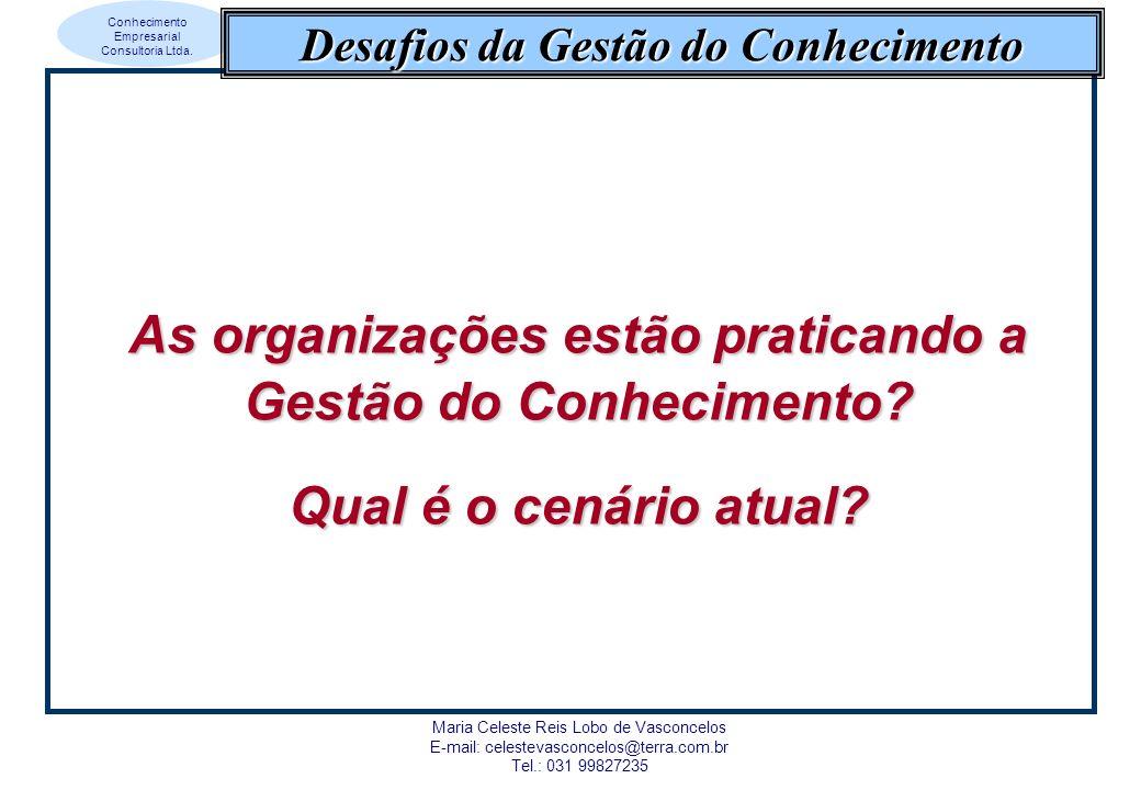 Conhecimento Empresarial Consultoria Ltda. Maria Celeste Reis Lobo de Vasconcelos E-mail: celestevasconcelos@terra.com.br Tel.: 031 99827235 Desafios