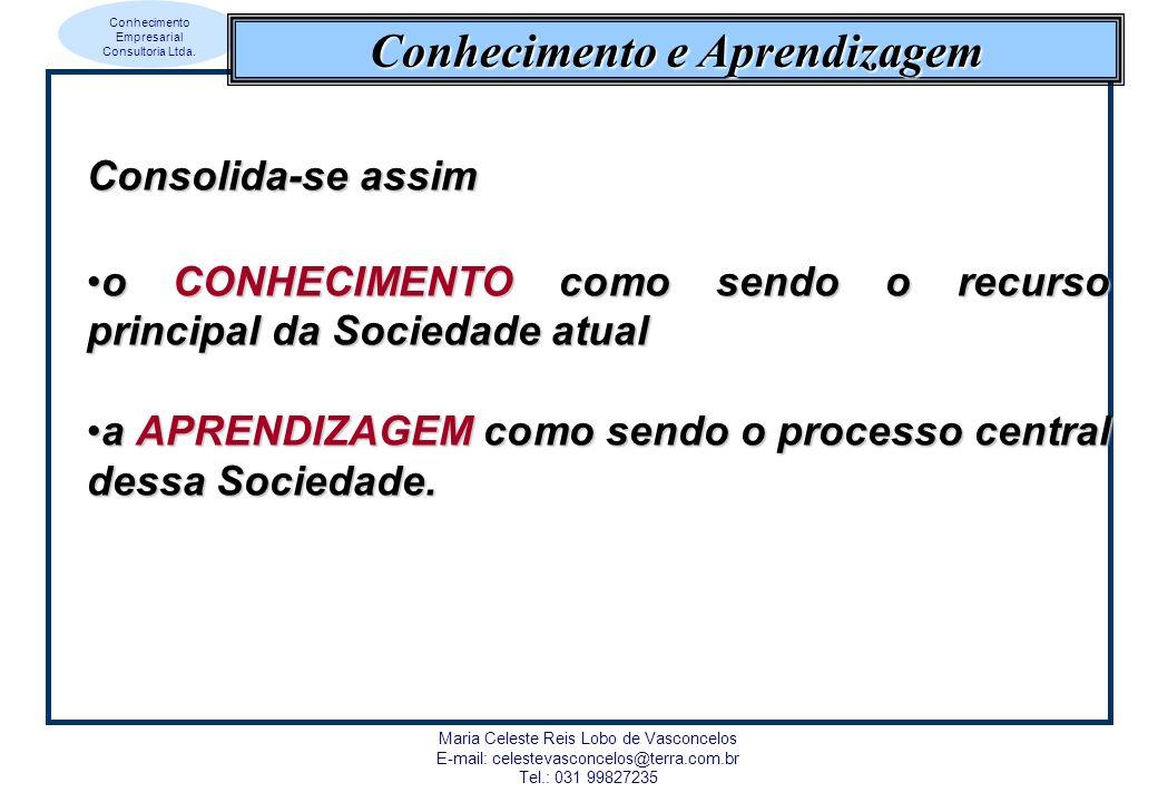 Conhecimento Empresarial Consultoria Ltda. Maria Celeste Reis Lobo de Vasconcelos E-mail: celestevasconcelos@terra.com.br Tel.: 031 99827235 Conhecime
