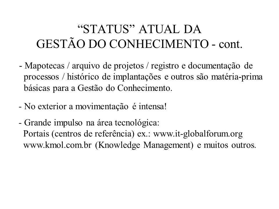 STATUS ATUAL DA GESTÃO DO CONHECIMENTO - cont. - Mapotecas / arquivo de projetos / registro e documentação de processos / histórico de implantações e