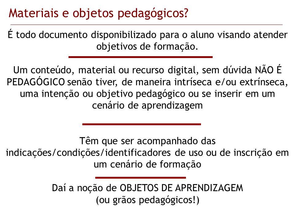 Materiais e objetos pedagógicos? É todo documento disponibilizado para o aluno visando atender objetivos de formação. Um conteúdo, material ou recurso