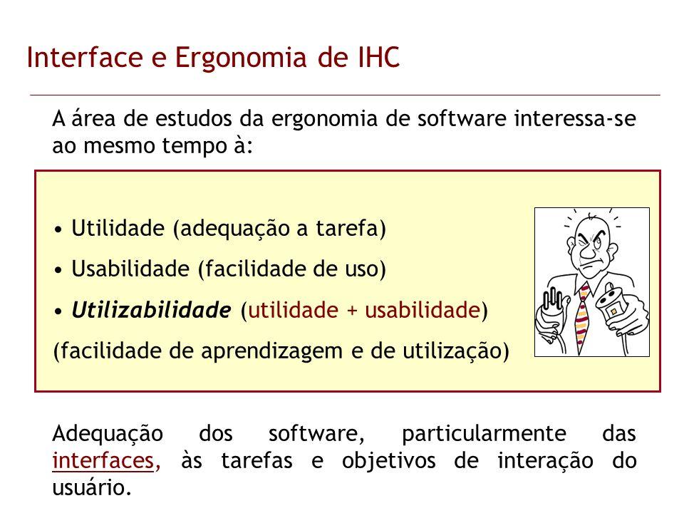 Interface e Ergonomia de IHC A área de estudos da ergonomia de software interessa-se ao mesmo tempo à: Utilidade (adequação a tarefa) Usabilidade (fac