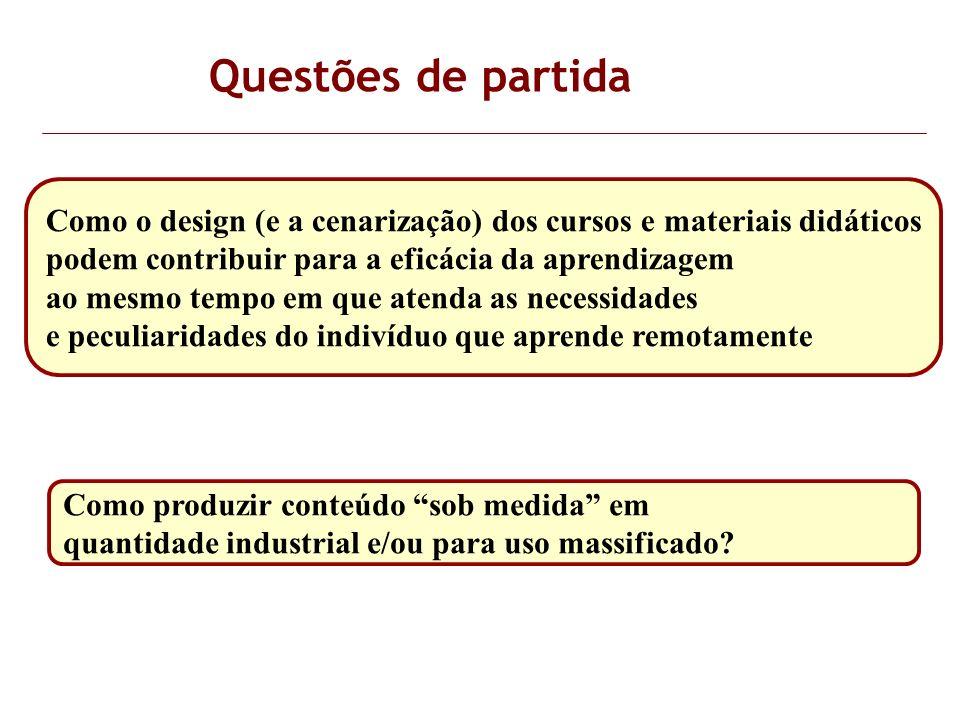 Questões de partida Como o design (e a cenarização) dos cursos e materiais didáticos podem contribuir para a eficácia da aprendizagem ao mesmo tempo e
