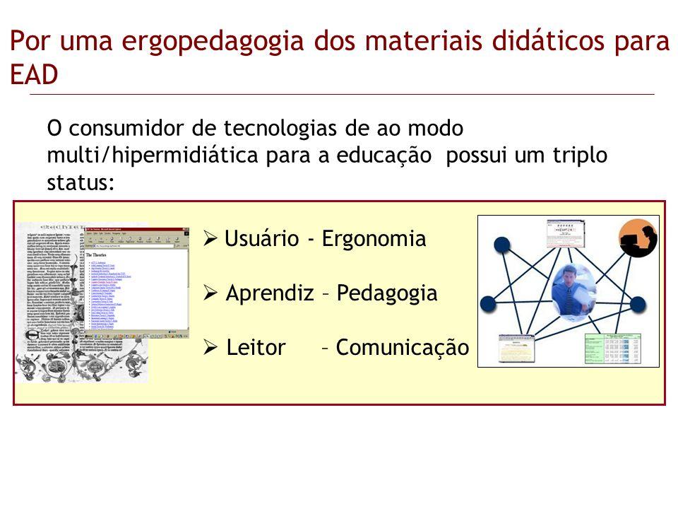 Por uma ergopedagogia dos materiais didáticos para EAD O consumidor de tecnologias de ao modo multi/hipermidiática para a educação possui um triplo st