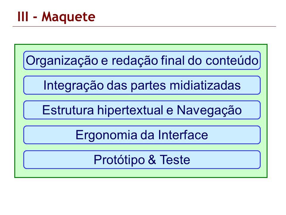 Organização e redação final do conteúdo Integração das partes midiatizadas Estrutura hipertextual e Navegação Ergonomia da Interface Protótipo & Teste