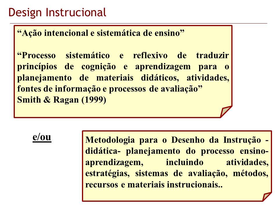 Design Instrucional Ação intencional e sistemática de ensino Processo sistemático e reflexivo de traduzir princípios de cognição e aprendizagem para o