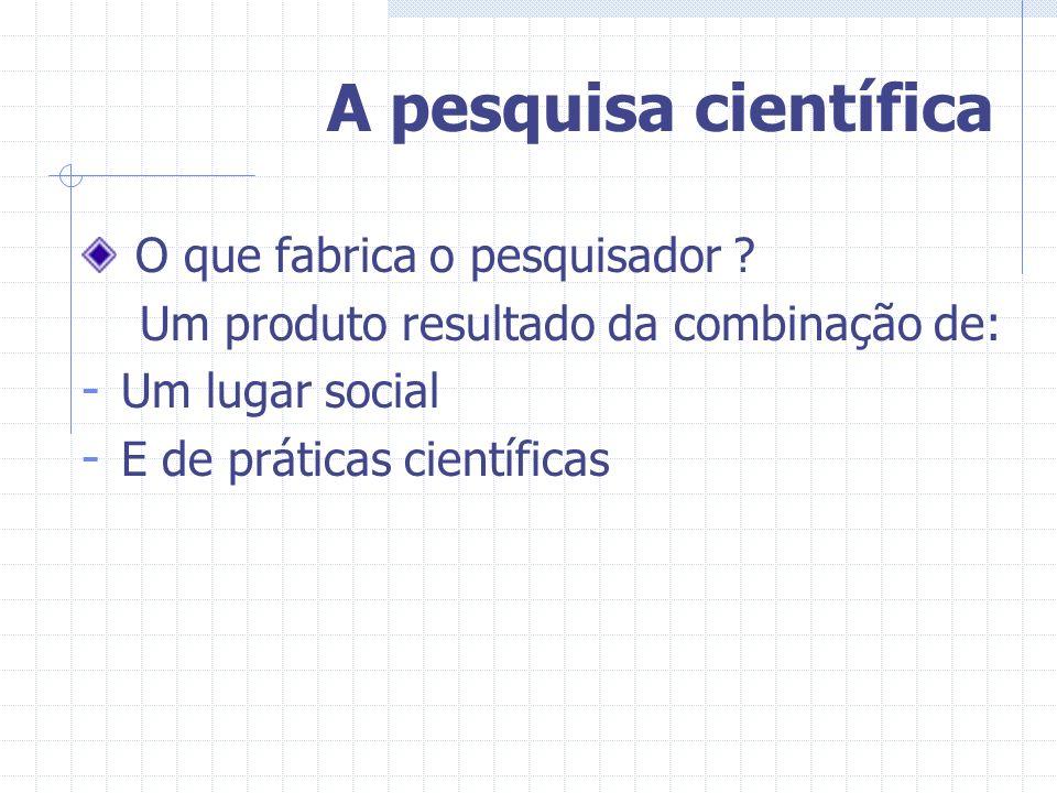 A pesquisa científica O que fabrica o pesquisador ? Um produto resultado da combinação de: - Um lugar social - E de práticas científicas