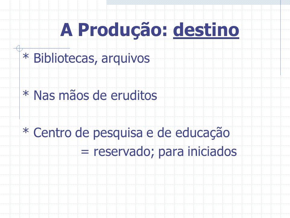 A Produção: destino * Bibliotecas, arquivos * Nas mãos de eruditos * Centro de pesquisa e de educação = reservado; para iniciados