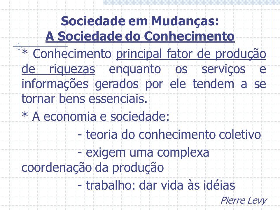 * Conhecimento principal fator de produção de riquezas enquanto os serviços e informações gerados por ele tendem a se tornar bens essenciais. * A econ