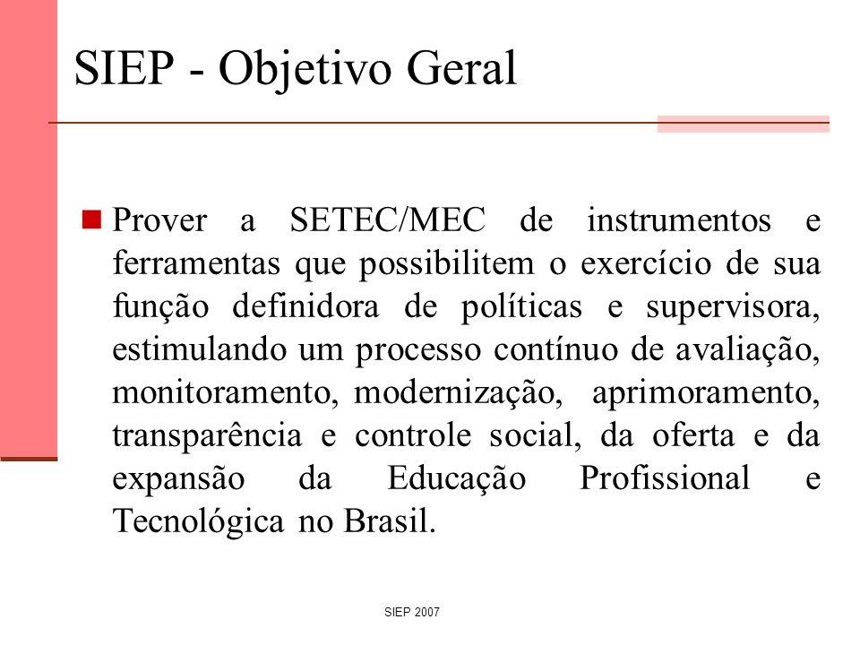 SIEP 2007 SIEP - Objetivo Geral Prover a SETEC/MEC de instrumentos e ferramentas que possibilitem o exercício de sua função definidora de políticas e