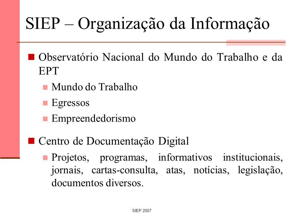 SIEP 2007 SIEP – Organização da Informação Observatório Nacional do Mundo do Trabalho e da EPT Mundo do Trabalho Egressos Empreendedorismo Centro de D