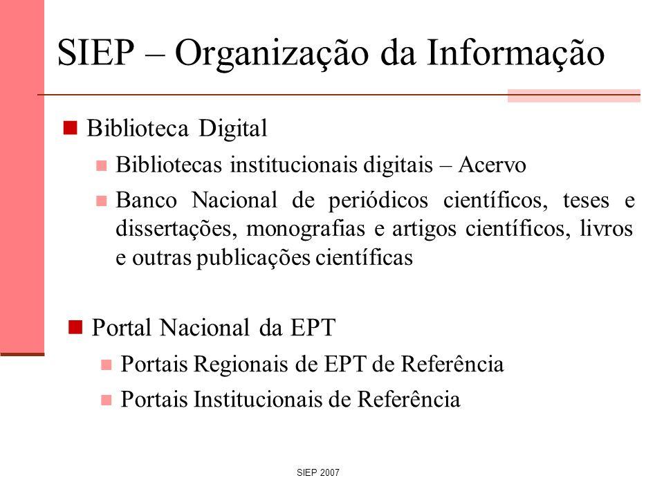 SIEP 2007 SIEP – Organização da Informação Biblioteca Digital Bibliotecas institucionais digitais – Acervo Banco Nacional de periódicos científicos, t