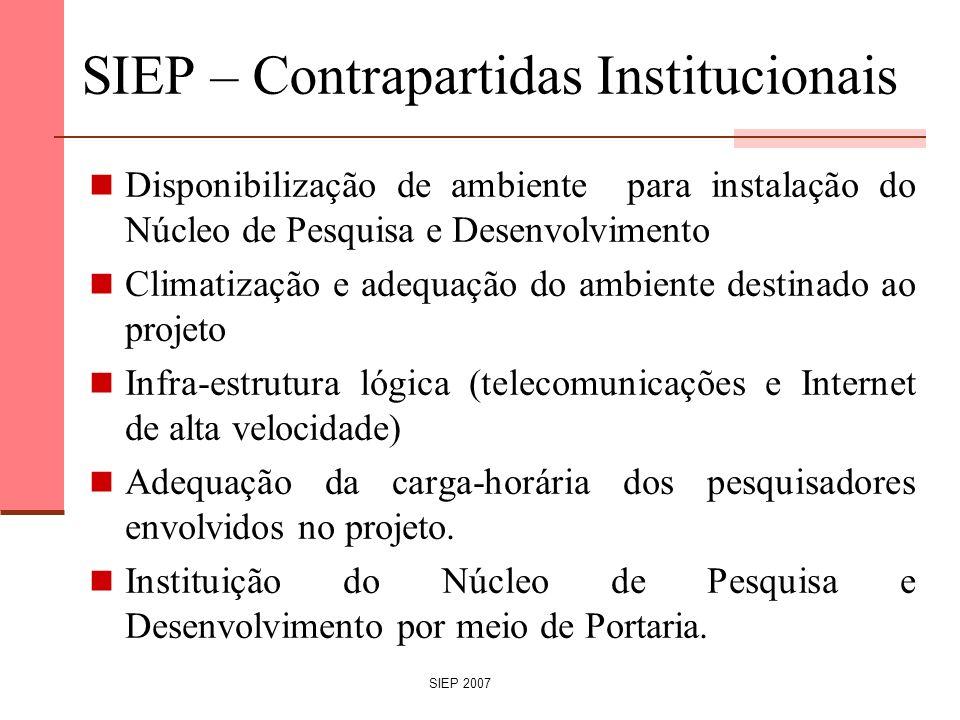 SIEP 2007 SIEP – Contrapartidas Institucionais Disponibilização de ambiente para instalação do Núcleo de Pesquisa e Desenvolvimento Climatização e ade
