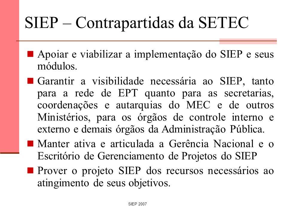 SIEP 2007 SIEP – Contrapartidas da SETEC Apoiar e viabilizar a implementação do SIEP e seus módulos. Garantir a visibilidade necessária ao SIEP, tanto