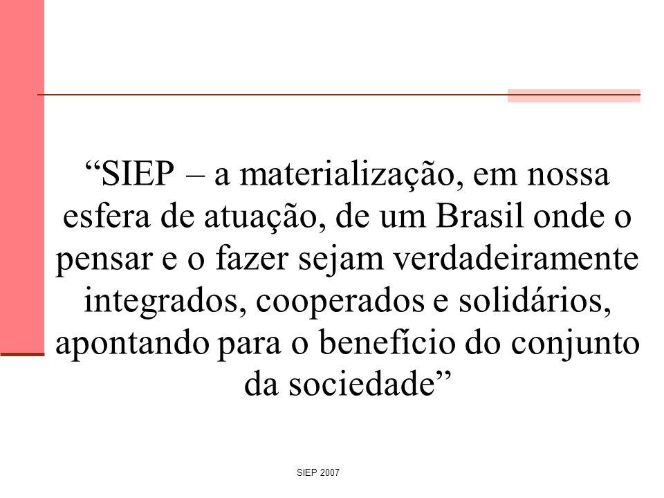 SIEP 2007 SIEP – a materialização, em nossa esfera de atuação, de um Brasil onde o pensar e o fazer sejam verdadeiramente integrados, cooperados e sol