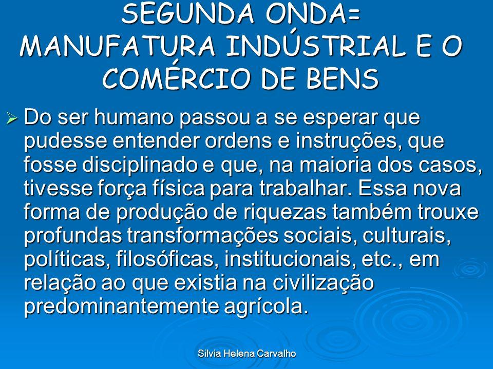Silvia Helena Carvalho SEGUNDA ONDA= MANUFATURA INDÚSTRIAL E O COMÉRCIO DE BENS Do ser humano passou a se esperar que pudesse entender ordens e instru