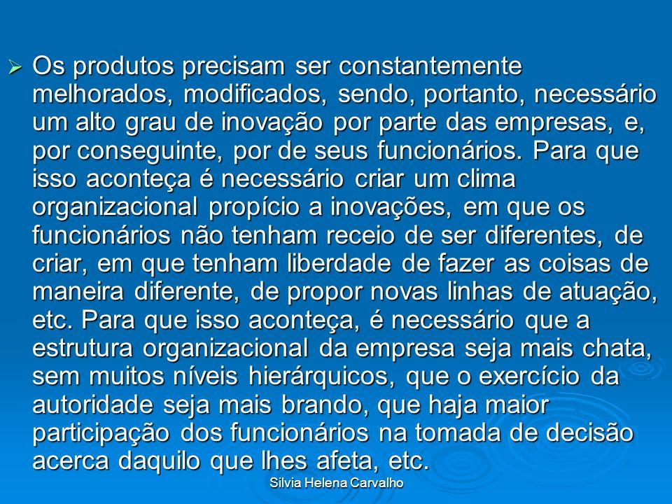 Silvia Helena Carvalho Os produtos precisam ser constantemente melhorados, modificados, sendo, portanto, necessário um alto grau de inovação por parte