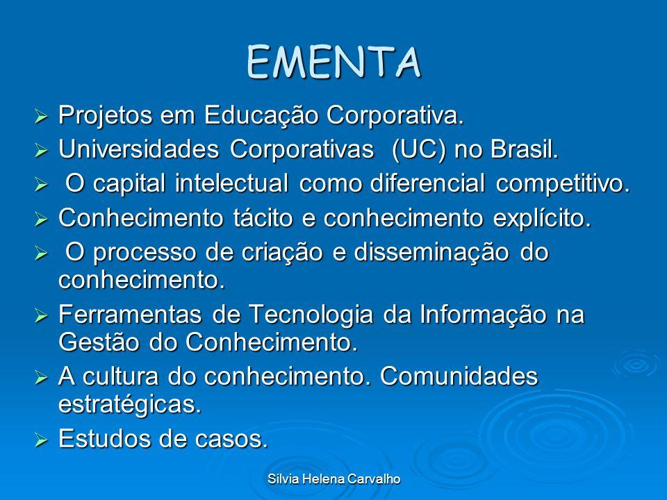 Silvia Helena Carvalho EMENTA Projetos em Educação Corporativa. Projetos em Educação Corporativa. Universidades Corporativas (UC) no Brasil. Universid